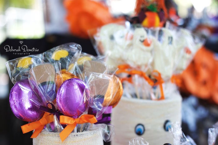 Chocolate Halloween lollipops from an Orange + Purple & Black Halloween Party on Kara's Party Ideas | KarasPartyIdeas.com (22)