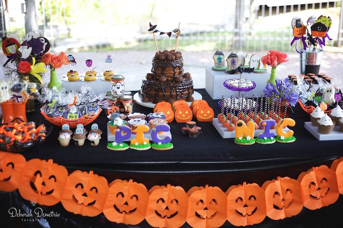 pumpkin dessert table from an orange purple black halloween party on karas party ideas - Halloween Table Decorations
