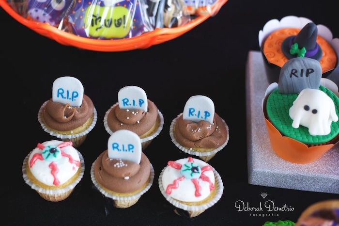 Cupcakes from an Orange + Purple & Black Halloween Party on Kara's Party Ideas | KarasPartyIdeas.com (20)
