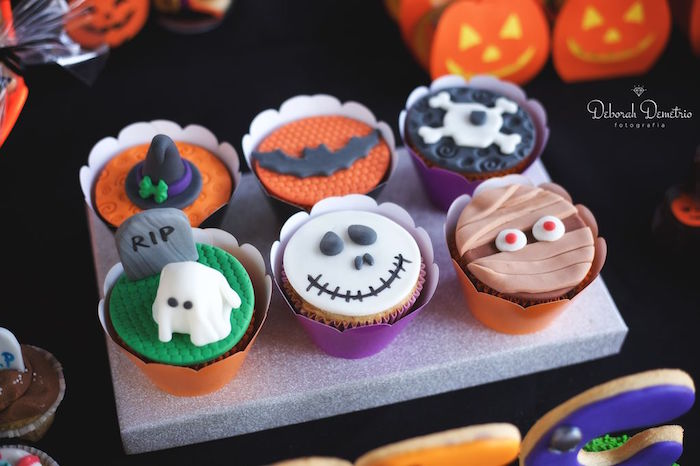 Cupcakes from an Orange + Purple & Black Halloween Party on Kara's Party Ideas | KarasPartyIdeas.com (19)
