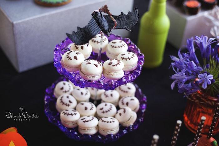 Creepy skeleton macarons from an Orange + Purple & Black Halloween Party on Kara's Party Ideas | KarasPartyIdeas.com (17)