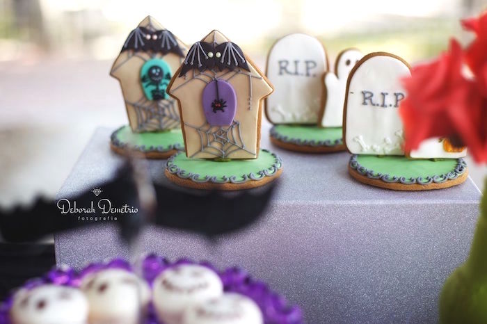 Headstone sugar cookies from an Orange + Purple & Black Halloween Party on Kara's Party Ideas | KarasPartyIdeas.com (16)