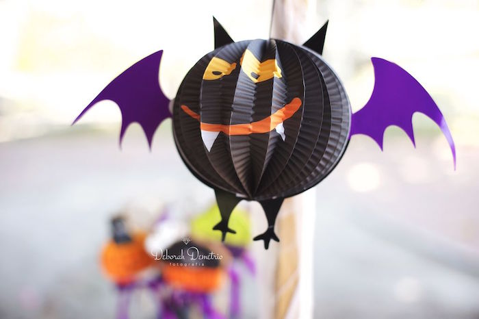 Paper plate bat from an Orange + Purple & Black Halloween Party on Kara's Party Ideas | KarasPartyIdeas.com (15)