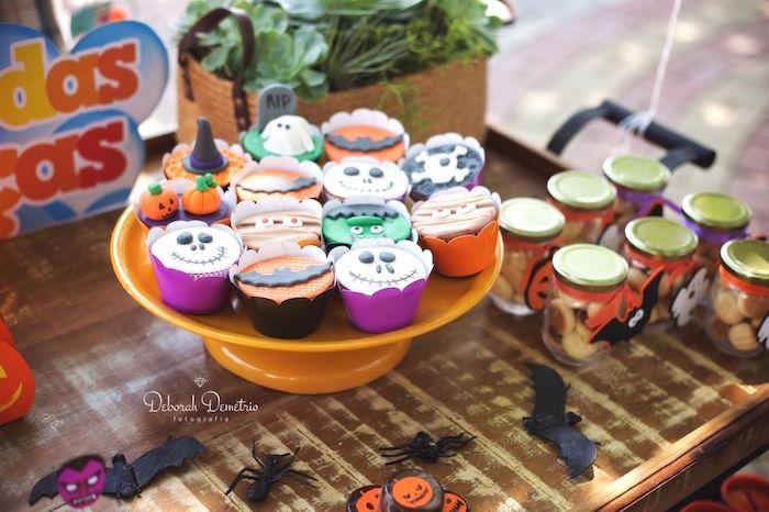 Halloween cupcakes from an Orange + Purple & Black Halloween Party on Kara's Party Ideas | KarasPartyIdeas.com (14)