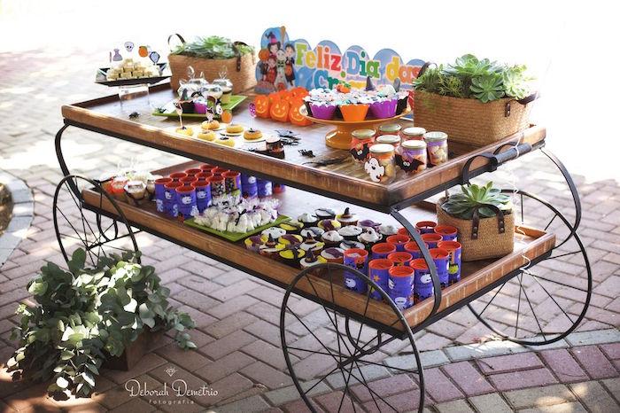 Wooden dessert + favor cart from an Orange + Purple & Black Halloween Party on Kara's Party Ideas | KarasPartyIdeas.com (13)
