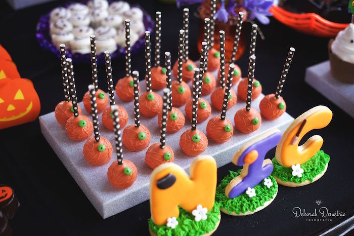 Halloween cake pops from an Orange + Purple & Black Halloween Party on Kara's Party Ideas | KarasPartyIdeas.com (11)