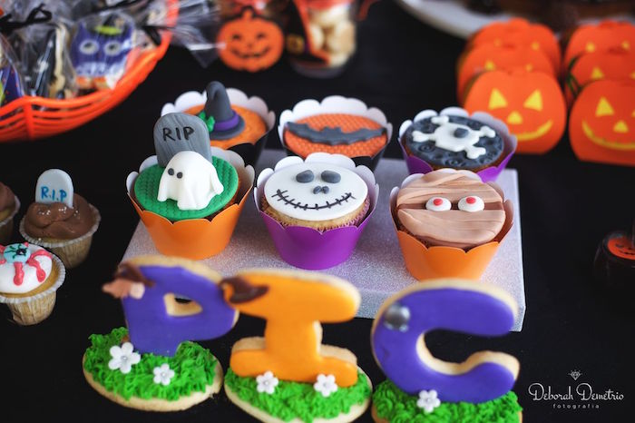 Cupcakes & cookies from an Orange + Purple & Black Halloween Party on Kara's Party Ideas | KarasPartyIdeas.com (10)