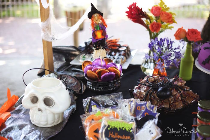 Table details from an Orange + Purple & Black Halloween Party on Kara's Party Ideas | KarasPartyIdeas.com (9)