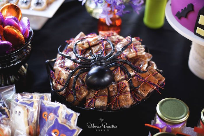 Spider covered favors from an Orange + Purple & Black Halloween Party on Kara's Party Ideas | KarasPartyIdeas.com (8)