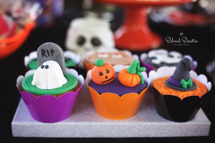 Halloween cupcakes from an Orange + Purple & Black Halloween Party on Kara's Party Ideas | KarasPartyIdeas.com (7)