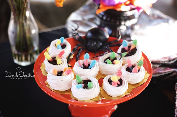 Mummy meringues with worms from an Orange + Purple & Black Halloween Party on Kara's Party Ideas | KarasPartyIdeas.com (6)