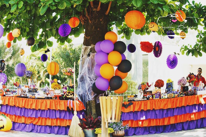 Hanging decorations from an Orange + Purple & Black Halloween Party on Kara's Party Ideas | KarasPartyIdeas.com (72)