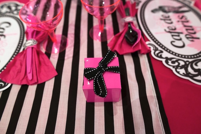 Hot pink favor boxes tied with black bows from a Paris 10th Birthday Party on Kara's Party Ideas | KarasPartyIdeas.com (25)
