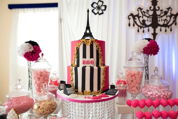 Sweet Table From A Paris 10th Birthday Party On Karas Party Ideas Karaspartyideas Com