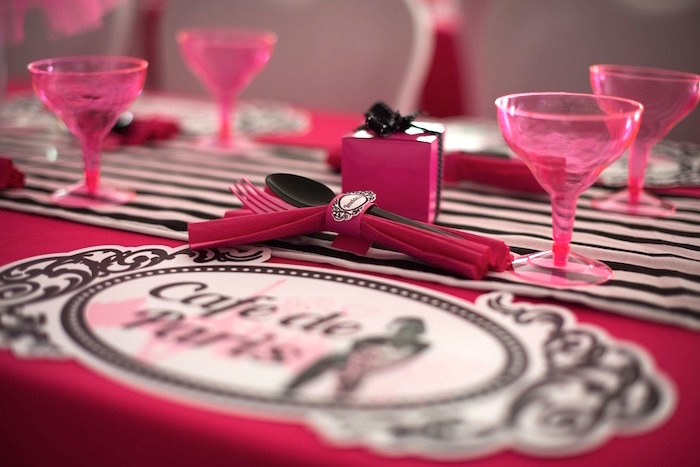 Place setting from a Paris 10th Birthday Party on Kara's Party Ideas | KarasPartyIdeas.com (36)