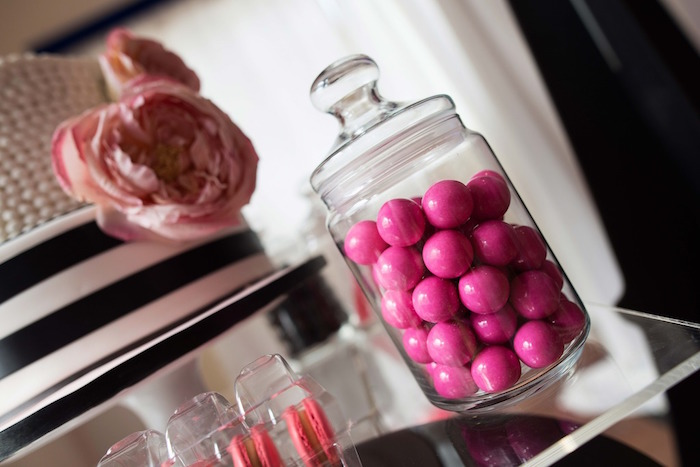 Apothecary jar of pink gumballs from a Paris 10th Birthday Party on Kara's Party Ideas | KarasPartyIdeas.com (16)