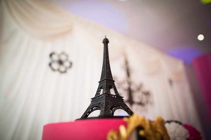Eiffel Tower cake topper from a Paris 10th Birthday Party on Kara's Party Ideas | KarasPartyIdeas.com (13)