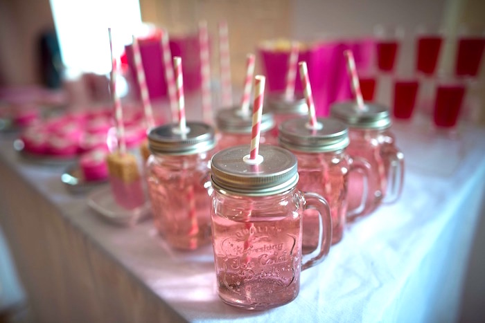 Mason jar drink mugs from a Paris 10th Birthday Party on Kara's Party Ideas | KarasPartyIdeas.com (9)
