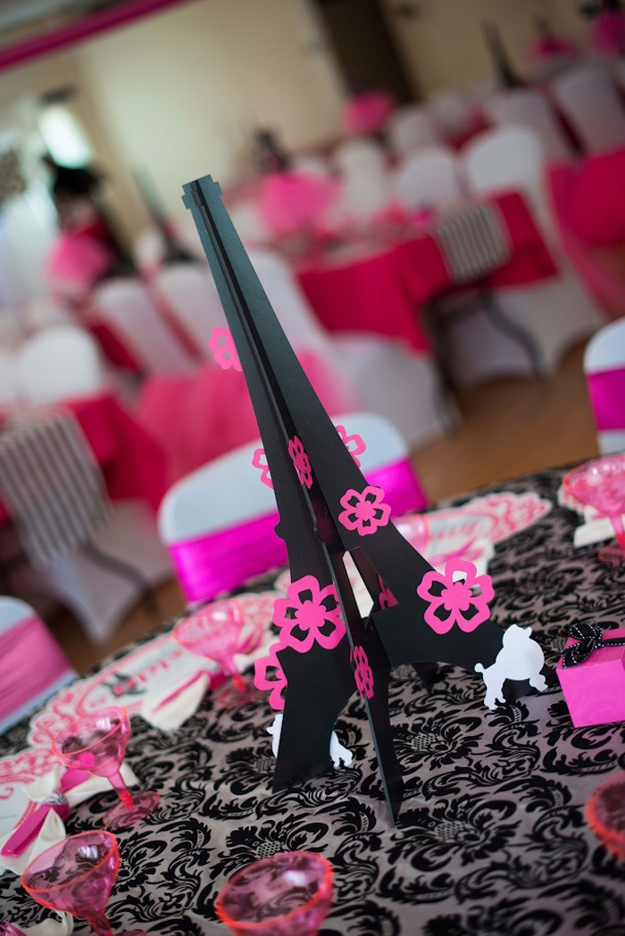 Eiffel Tower table centerpiece from a Paris 10th Birthday Party on Kara's Party Ideas | KarasPartyIdeas.com (35)