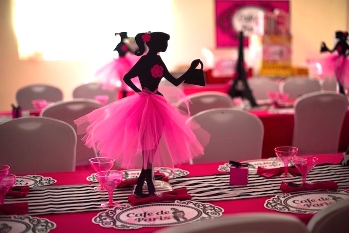 Paris girl table centerpiece from a Paris 10th Birthday Party on Kara's Party Ideas | KarasPartyIdeas.com (31)