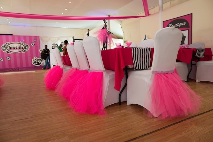 Party table with hot pink tutu chair ties from a Paris 10th Birthday Party on Kara's Party Ideas | KarasPartyIdeas.com (28)