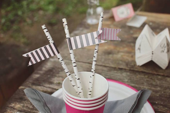 Pink cups and birch tree straws from a Parisian Love Outdoor Picnic Birthday Party on Kara's Party Ideas   KarasPartyIdeas.com (22)