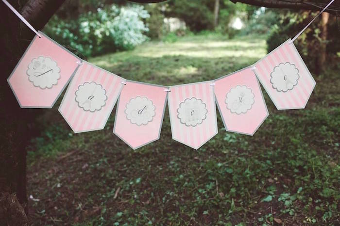 Pink party banner from a Parisian Love Outdoor Picnic Birthday Party on Kara's Party Ideas   KarasPartyIdeas.com (21)