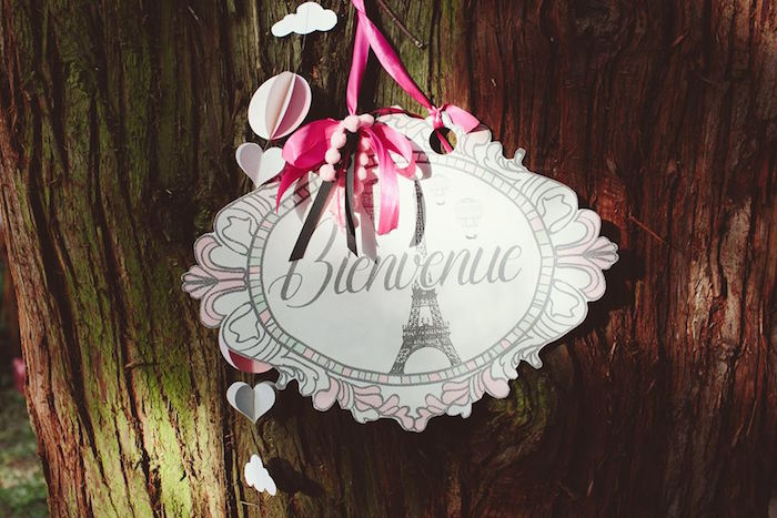 Party signage from a Parisian Love Outdoor Picnic Birthday Party on Kara's Party Ideas   KarasPartyIdeas.com (18)
