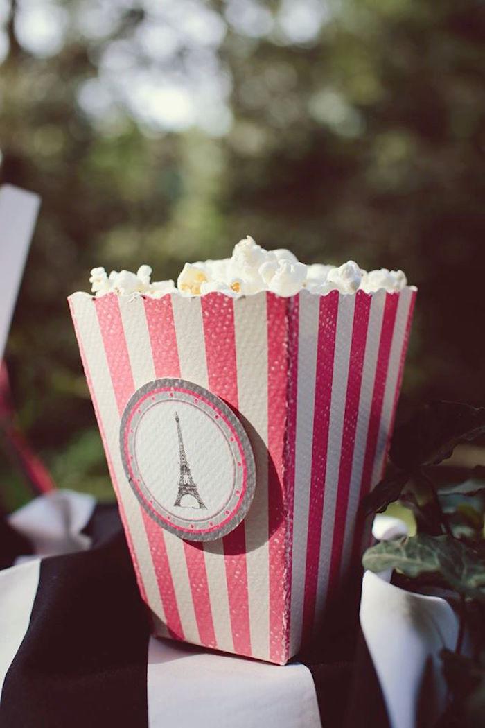 Popcorn box from a Parisian Love Outdoor Picnic Birthday Party on Kara's Party Ideas   KarasPartyIdeas.com (14)