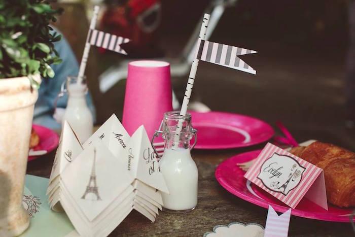 Glass milk jar from a Parisian Love Outdoor Picnic Birthday Party on Kara's Party Ideas   KarasPartyIdeas.com (41)