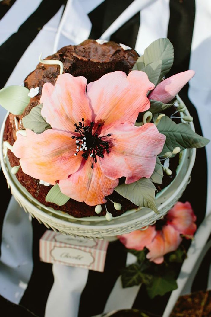 Gorgeous flower cake topper from a Parisian Love Outdoor Picnic Birthday Party on Kara's Party Ideas   KarasPartyIdeas.com (8)