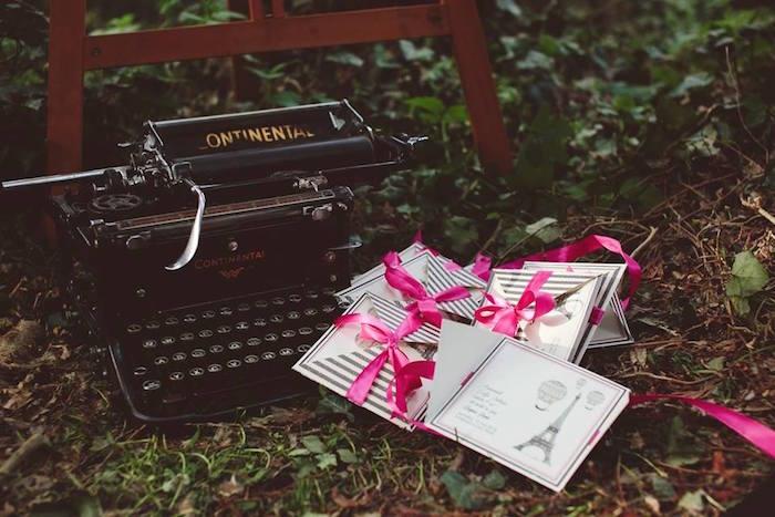 Vintage typewriter from a Parisian Love Outdoor Picnic Birthday Party on Kara's Party Ideas   KarasPartyIdeas.com (40)