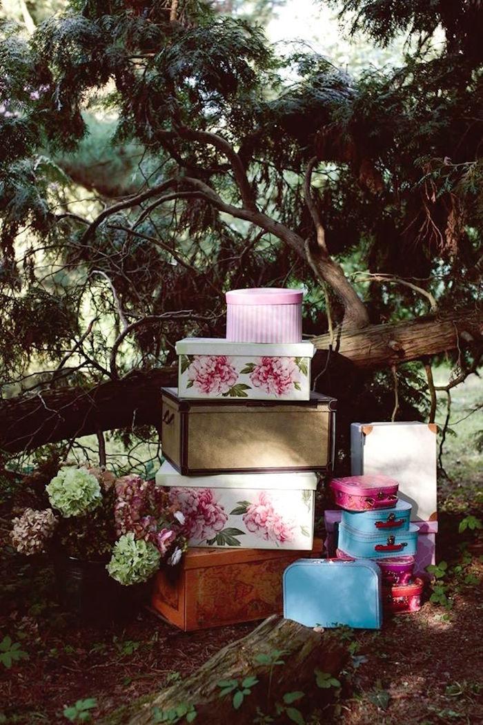 Boxes from a Parisian Love Outdoor Picnic Birthday Party on Kara's Party Ideas   KarasPartyIdeas.com (38)