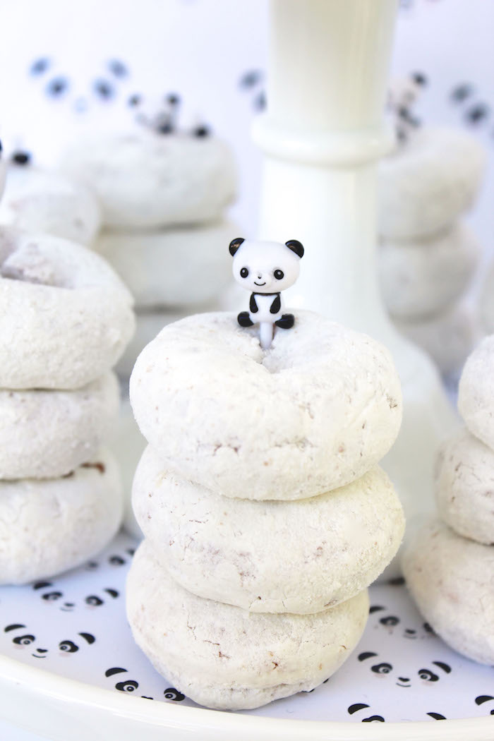 Stacked white donuts from a Party Like a Panda Birthday Party on Kara's Party Ideas | KarasPartyIdeas.com (47)