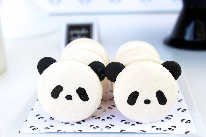 Panda Bear Macarons from a Party Like a Panda Birthday Party on Kara's Party Ideas | KarasPartyIdeas.com (46)