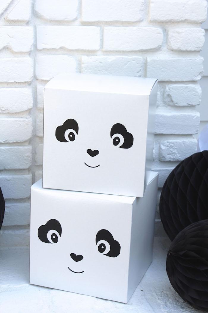 Panda Bear boxes from a Party Like a Panda Birthday Party on Kara's Party Ideas | KarasPartyIdeas.com (39)