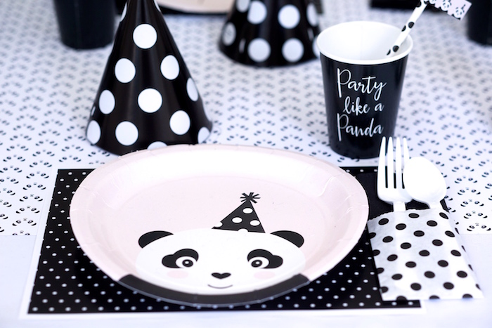 Panda Bear place setting from a Party Like a Panda Birthday Party on Kara's Party Ideas | KarasPartyIdeas.com (30)
