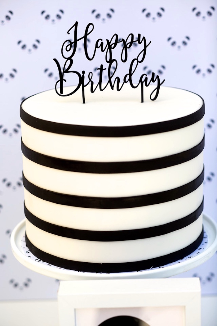 Black and white striped cake from a Party Like a Panda Birthday Party on Kara's Party Ideas | KarasPartyIdeas.com (27)