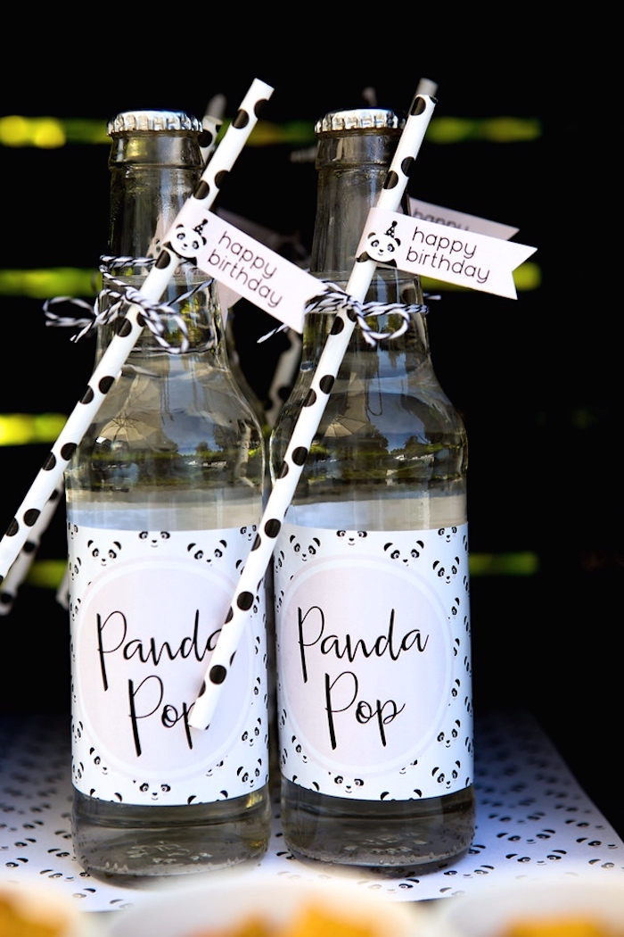 Drink bottles from a Party Like a Panda Birthday Party on Kara's Party Ideas | KarasPartyIdeas.com (9)