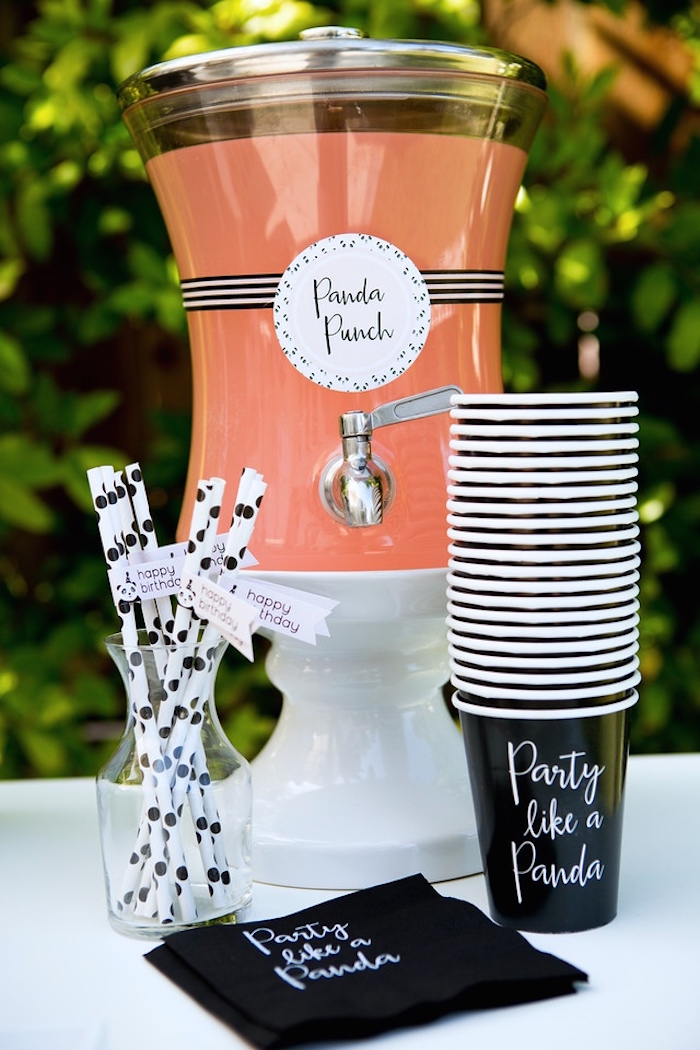 Drink station from a Party Like a Panda Birthday Party on Kara's Party Ideas | KarasPartyIdeas.com (7)