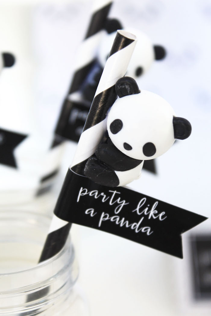 Panda Bear straw topper from a Party Like a Panda Birthday Party on Kara's Party Ideas | KarasPartyIdeas.com (52)