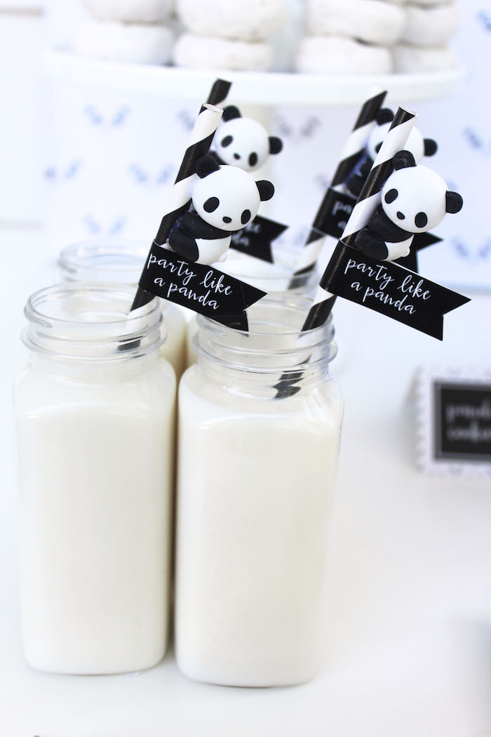 Panda Bear milk bottles from a Party Like a Panda Birthday Party on Kara's Party Ideas | KarasPartyIdeas.com (49)