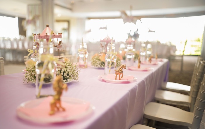 Place settings from a Pastel Carousel Birthday Party on Kara's Party Ideas | KarasPartyIdeas.com (33)