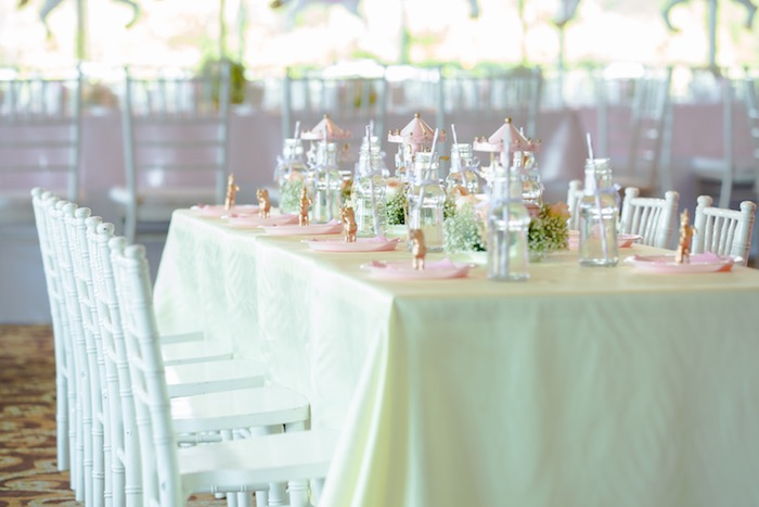 Gorgeous guest tablescape from a Pastel Carousel Birthday Party on Kara's Party Ideas | KarasPartyIdeas.com (29)