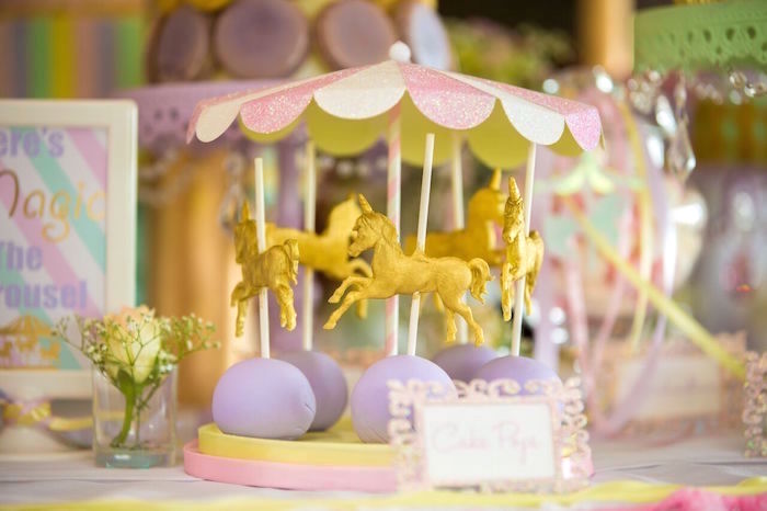 Carousel cake pops from a Pastel Carousel Birthday Party on Kara's Party Ideas | KarasPartyIdeas.com (43)
