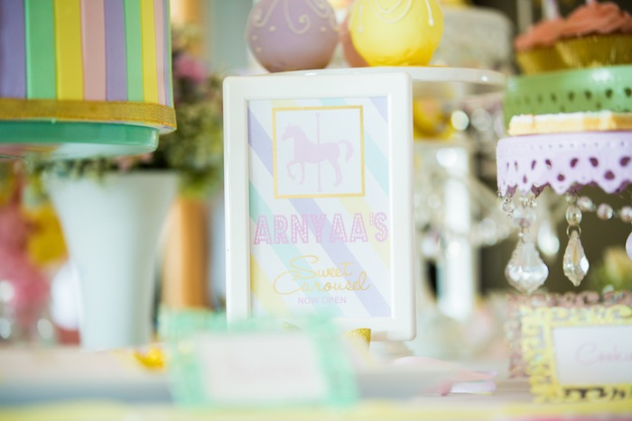 Party signage from a Pastel Carousel Birthday Party on Kara's Party Ideas | KarasPartyIdeas.com (15)