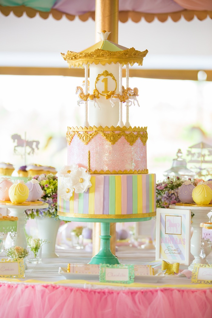 Kara S Party Ideas Gold And Pastel Carousel Birthday Party