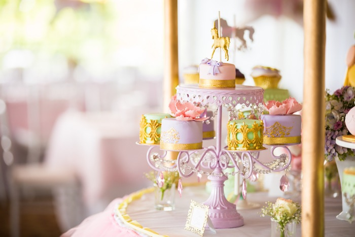 Mini cakes from a Pastel Carousel Birthday Party on Kara's Party Ideas | KarasPartyIdeas.com (14)