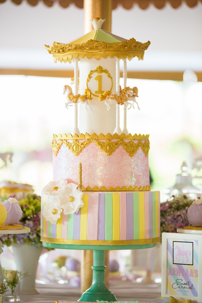 Carousel cake from a Pastel Carousel Birthday Party on Kara's Party Ideas | KarasPartyIdeas.com (13)