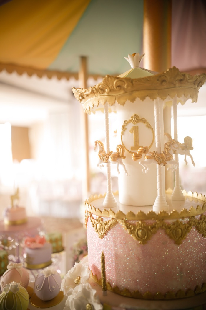 Carousel cake from a Pastel Carousel Birthday Party on Kara's Party Ideas | KarasPartyIdeas.com (10)